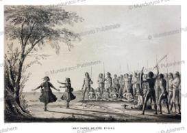 dayak war-dance, borneo, borneo, frank s. marryat, 18481