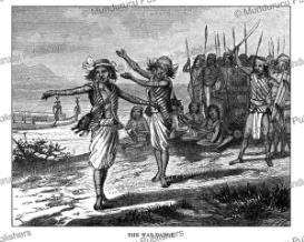 dayak war-dance, borneo, johann baptist zwecker, 1870