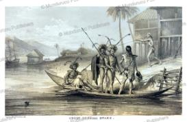 group of sagai (suku) dayaks, borneo, belcher, 1848