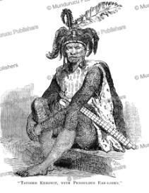 tattooed kenowit warrior, borneo, b. u. vigors, 1849