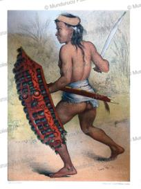 dayak warrior holding a shield adorned with the hair of slain enemies, carl bock, 1882