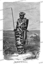 dayak warrior holding a shield adorned with the hair of slain enemies, friedrich ratzel, 1886
