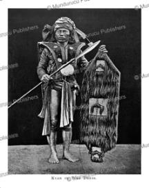 kayan warrior with shield decorated with human hair, borneo, henry ling roth, 1896