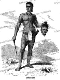 dayak warrior with the slain head of an enemy, s. friedmann, 1868