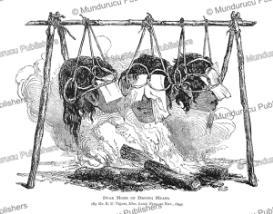 dayak mode of drying heads, borneo, b.u. vigors, 1849