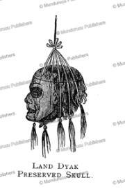 dayak preserved skull, borneo, frank s. marryat, 18481