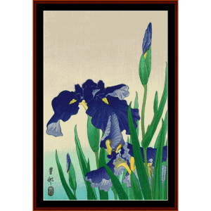 flowering iris ii - asian art cross stitch pattern by cross stitch collectibles