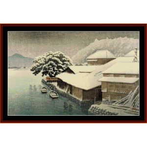 ishinomaki in the snow - asian art cross stitch pattern by cross stitch collectibles