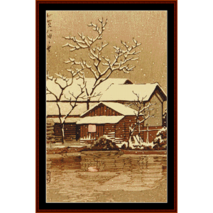 kaga in snow - asian art cross stitch pattern by cross stitch collectibles