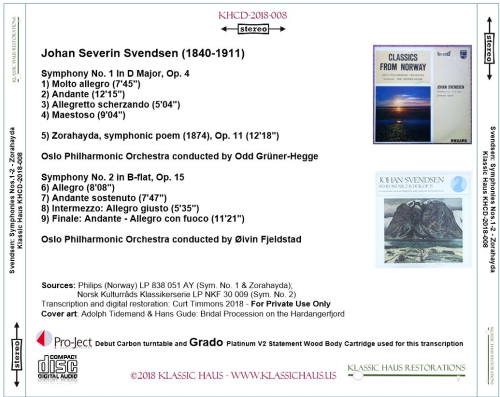 First Additional product image for - Johan Severin Svendsen: Symphonies Nos. 1&2; Zorahayda, symphonic poem