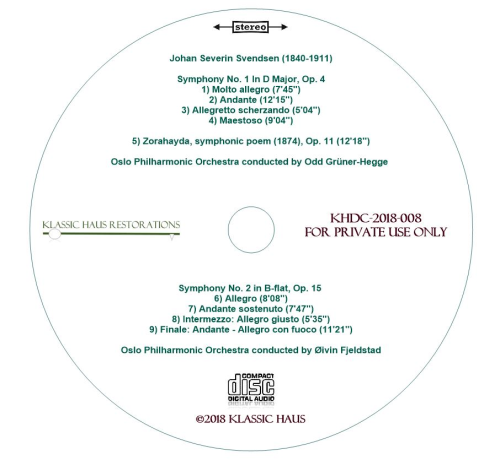 Second Additional product image for - Johan Severin Svendsen: Symphonies Nos. 1&2; Zorahayda, symphonic poem