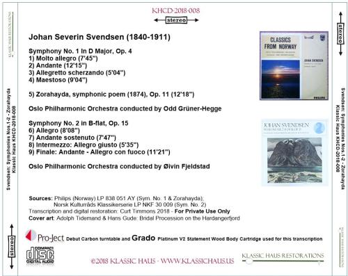First Additional product image for - Johan Severin Svendsen: Symphonies Nos. 1&2; Zorahayda, symphonic poem