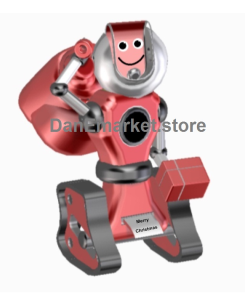 robot santa smiling and text