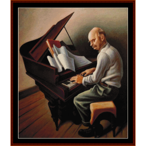 the pianist - americana cross stitch pattern by cross stitch collectibles