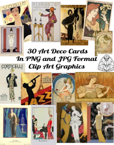 art deco clip art cards / labels
