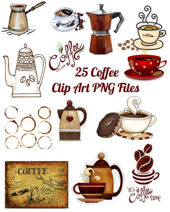 First Additional product image for - 25 Coffee Images Clip Art Transparent PNG Files Instant Download