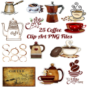 25 Coffee Images Clip Art Transparent PNG Files Instant Download | Photos and Images | Clip Art