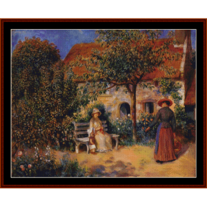 garden scene in brittany - renoir cross stitch pattern by cross stitch collectibles