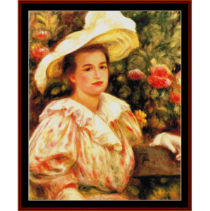 lady with white hat - renoir cross stitch pattern by cross stitch collectibles