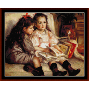 two girls reading - renoir cross stitch pattern by cross stitch collectibles