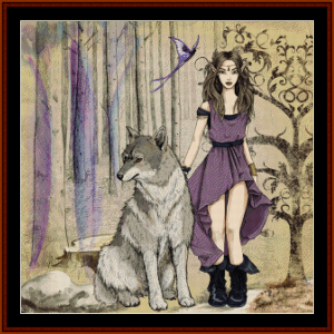 Fantasy Elf with Wolf - Fantasy cross stitch pattern by Cross Stitch Collectibles | Crafting | Cross-Stitch | Other