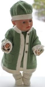 dollknittingpatterns 0196d juliette - jurk, broek, jas, muts en schoentjes-(nederlands)