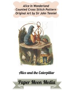 "alice in wonderland cross stitch ""alice and the caterpillar"