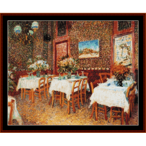 interior of a restaurant ii - van gogh cross stitch pattern by cross stitch collectibles