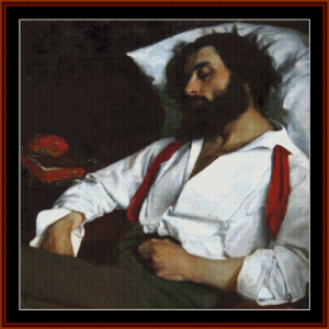 l'homme endormi - custom cross stitch pattern by cross stitch collectibles