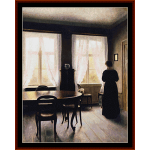 interior, 1900- hammershoi cross stitch pattern by cross stitch collectibles