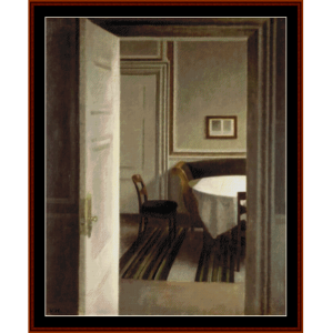 interior, 1904- hammershoi cross stitch pattern by cross stitch collectibles