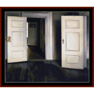 open doors, 1905 - hammershoi cross stitch pattern by cross stitch collectibles
