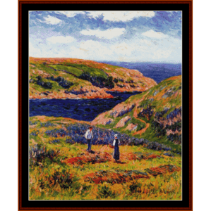 cliffs at clohars - moret cross stitch pattern by cross stitch collectibles
