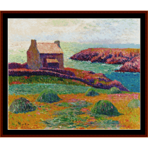 house on a hill - moret cross stitch pattern by cross stitch collectibles