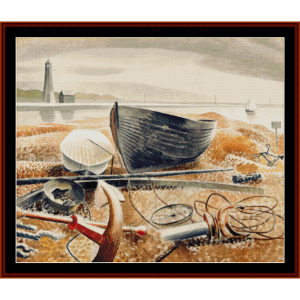 anchor and boats - ravilious cross stitch pattern by cross stitch collectibles