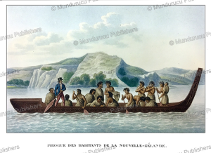 A canoe with natives of New Zealand, Lejeune and Chazal, 1826 | Photos and Images | Travel