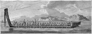 A war canoe of New Zealand with a view of Gable End Foreland, Joseph Banks, 1773 | Photos and Images | Travel