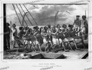 Natives dancing aboard l'Astrolabe, Louis Auguste de Sainson, 1833 | Photos and Images | Travel