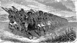 the haka, a maori war dance, emile bayard, 1866
