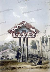 whata, a maori provision house at otumatua pa, charles heaphy, 1841