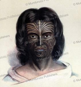 maori moko, george french angas, 1847