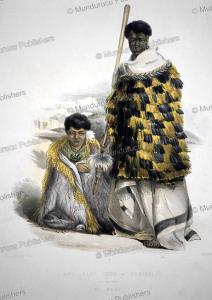 mungakahu, chief of motupoi, and his wife ko mari, george french angas, 1847
