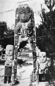 sacred maori wooden statue, new zealand, dunebin burton, 1916