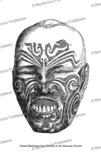 tattooed head of a maori woman, new zealand, owen jones, 1868