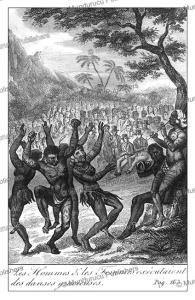 marquesas men and women perform a gracious dance, c.h. de mirval, 1838