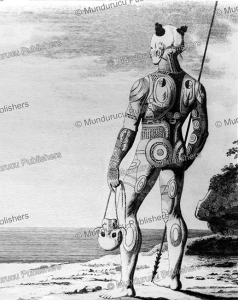 marquesan toa (warrior) of nuka hiva with head trophy, wilhelm gottlieb tilesius von tilenau, 1803