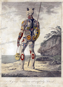 marquesan toa (warrior) of nuka hiva with head trophy, john swaine, 1813