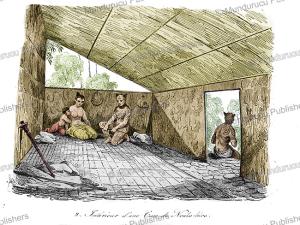 inside a house of nuka hiva, marquesas islands, louis auguste de sainson, 1834