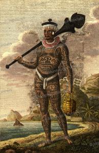 A warrior of Nuka Hiva, Marquesas Islands, J. A. Atkinson, 1804 | Photos and Images | Travel
