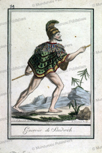warrior of the sandwich islands, hawaii, jacques grasset de saint-sauveur, 1795